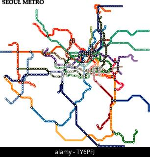 Map of the Seoul metro, Subway, Template of city transportation scheme for underground road. - Stock Photo