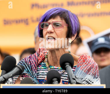U.S. Representative Rosa DeLauro (D-CT) speaking at a rally against the proposed United States–Mexico–Canada Agreement (USMCA), the proposed successor to NAFTA, at the Capitol. - Stock Photo