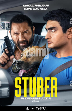 RELEASE DATE: July 12, 2019 TITLE: Stuber STUDIO: Twentieth Century Fox DIRECTOR: Michael Dowse PLOT: A detective recruits his Uber driver into an unexpected night of adventure. STARRING: DAVE BAUTISTA as Vic, KUMAIL NANJIANI as Stu. (Credit Image: © Twentieth Century Fox/Entertainment Pictures) - Stock Photo