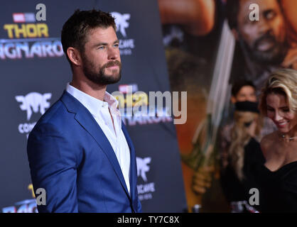 Cast member Chris Hemsworth attends the premiere of the sci-fi motion picture 'Thor: Ragnarok' at the El Capitan Theatre in the Hollywood section of Los Angeles on October 10, 2017. Storyline: Thor is imprisoned on the other side of the universe and finds himself in a race against time to get back to Asgard to stop Ragnarok, the destruction of his homeworld and the end of Asgardian civilization, at the hands of an all-powerful new threat, the ruthless Hela.  Photo by Jim Ruymen/UPI - Stock Photo