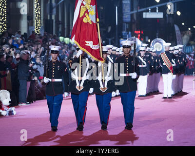 The Marine Band San Diego with U.S. Marine Corps Color Guard is seen at the 86th annual Hollywood Christmas Parade in Los Angeles on November 26, 2017.      Photo by Phil McCarten/UPI - Stock Photo