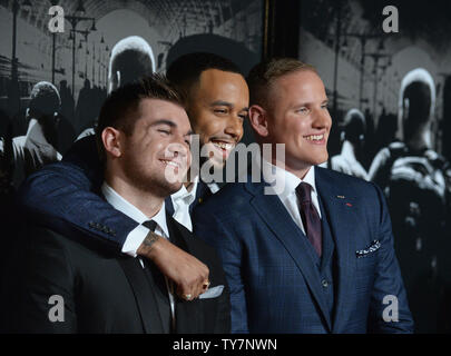 Former US National Guardsman Alek Skarlatos, Anthony Sadler and former US Air Force staff sergeant Spencer Stone (L-R), the heroes who thwarted the terrorist attack attend the premiere of the historic thriller 'The 15:17 to Paris' at Warner Bros. Studios in Burbank, California on February 5, 2018.  Storyline: Three Americans traveling through Europe thwart a terrorist attack aboard a train bound for Paris. The film follows the course of their lives from childhood to the unlikely events leading up to the attack.  Photo by Jim Ruymen/UPI - Stock Photo