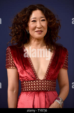 Actor Sandra Oh attends the 70th annual Primetime Emmy Award at the Microsoft Theater in downtown Los Angeles on September 17, 2018.   Photo by Christine Chew/UPI - Stock Photo