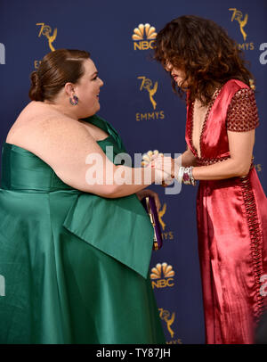 Actors Chrissy Metz (L) and Sandra Oh  attend the 70th annual Primetime Emmy Award at the Microsoft Theater in downtown Los Angeles on September 17, 2018.   Photo by Christine Chew/UPI - Stock Photo