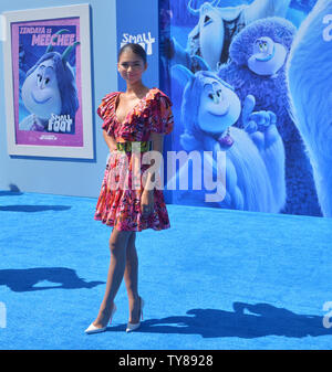 Cast member Zendaya, the voice of Meechee in the animated comedy 'Smallfoott' attends the premiere of the film at the Regency Village Theatre in the Westwood section of Los Angeles on September 22, 2018. The film tells the story of a yeti named Migo who is convinced that a human known only as 'Small Foot' is real and has to prove to his tribe that it does exist with the help of Meechee and the S.E.S - Smallfoot Evidentiary Society.  Photo by Jim Ruymen/UPI - Stock Photo