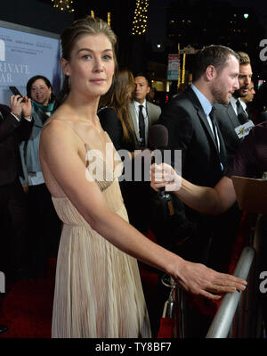 Cast member Rosamund Pike attends the premiere of the motion picture biographical war drama 'A Private War' at the Academy of Motion Picture Arts & Sciences in Beverly Hills, California on October 24, 2018.  Photo by Jim Ruymen/UPI - Stock Photo