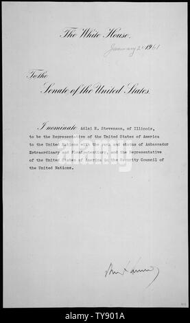Message of President John F. Kennedy nominating Adlai E. Stevenson of Illinois to be Representatives of the United States of America to the United Nations, 01/28/1961 - Stock Photo