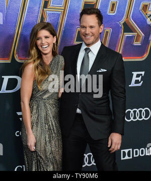 Cast member Chris Pratt and Katherine Schwarzenegger attend the premiere of the sci-fi motion picture 'Avengers: Endgame' at the Los Angeles Convention Center in Los Angeles on April 22, 2019. Storyline: After the devastating events of Avengers: Infinity War (2018), the universe is in ruins. With the help of remaining allies, the Avengers assemble once more in order to undo Thanos' actions and restore order to the universe.  Photo by Jim Ruymen/UPI - Stock Photo