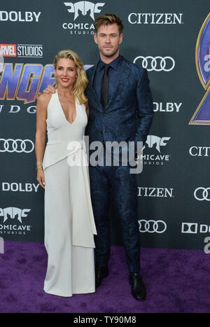 Chris Hemsworth and Elsa Pataky attend the premiere of the sci-fi motion picture 'Avengers: Endgame' at the Los Angeles Convention Center in Los Angeles on April 22, 2019. Storyline: After the devastating events of Avengers: Infinity War (2018), the universe is in ruins. With the help of remaining allies, the Avengers assemble once more in order to undo Thanos' actions and restore order to the universe.  Photo by Jim Ruymen/UPI - Stock Photo