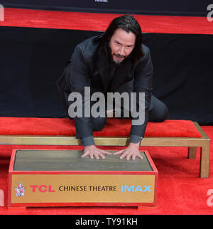 Actor Keanu Reeves participates in a hand and footprint ceremony immortalizing him in the forecourt of the TCL Chinese Theatre (formerly Grauman's) in the Hollywood section of Los Angeles on May 14, 2019. Photo by Jim Ruymen/UPI - Stock Photo