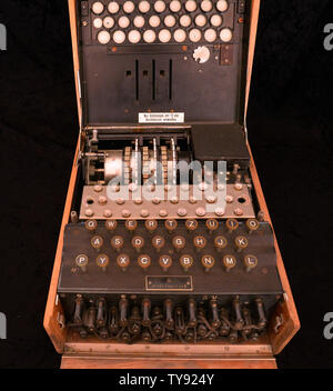 A rare three-cipher rotor design Enigma machine (M3) used by the Germans during World War II (pictured) will be auctioned online on May 30, 2019. Germany used the Enigma machine from 1934 until the conclusion of the war in 1945. The Enigma machine could scramble the letters into any one of 17,576 combinations except the use of its original letter. As featured in the critically acclaimed film ''The Imitation Game,'' British scientist Alan Turing's efforts to decode the enigma system allowed the Allies to deconstruct many of the German ciphers' coded communications. Enigma machines are now very - Stock Photo