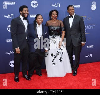 Honoree Denzel Washington (R) attends the 47th annual AFI Life Achievement Award tribute gala with his son Malcolm Washington, daughter Katia Washington and wife Pauletta Washington (L-R) at the Dolby Theatre in the Hollywood section of Los Angeles on June 6, 2019.   Photo by Jim Ruymen/UPI - Stock Photo