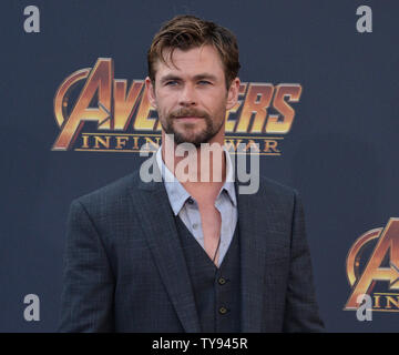 Cast member Chris Hemsworth attends the premiere of the sci-fi motion picture fantasy 'Avengers: Infinity Wars' at the El Capitan Theatre in the Hollywood section of Los Angeles on April 23, 2018. Storyline: The Avengers and their allies must be willing to sacrifice all in an attempt to defeat the powerful Thanos before his blitz of devastation and ruin puts an end to the universe.  Photo by Jim Ruymen/UPI. - Stock Photo