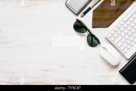 Business men's casual outfits on rusty white wood board background, Flat lay, top view with copy space for your advertisement text or object. - Stock Photo