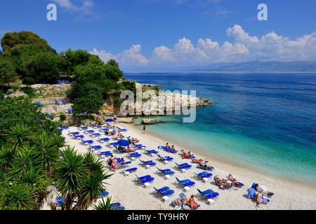 Bataria beach,Kassiopi,Kassopaia,Ionian Islands, Corfu ,Greece - Stock Photo