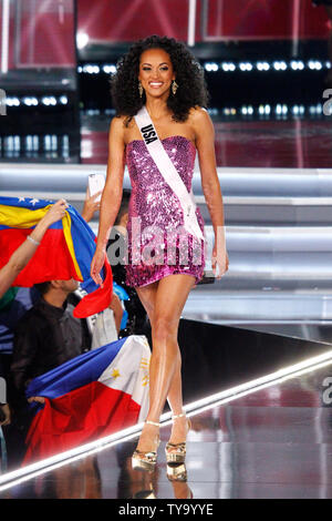 Miss USA, Kara McCullough walks on stage during introductions for the 66th Miss Universe pageant competition at The Axis at Planet Hollywood in Las Vegas, Nevada on November 26, 2017. Photo by James Atoa/UPI - Stock Photo