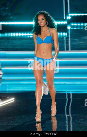 Miss USA, Kara McCullough walks on stage in her swimwear attire during the 66th Miss Universe pageant competition at The Axis at Planet Hollywood in Las Vegas, Nevada on November 26, 2017. Photo by James Atoa/UPI - Stock Photo