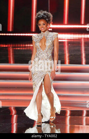 Miss USA, Kara McCullough walks onstage in her evening wear during the 66th Miss Universe pageant competition at The Axis at Planet Hollywood in Las Vegas, Nevada on November 26, 2017. Photo by James Atoa/UPI - Stock Photo