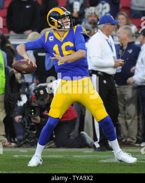 Los Angeles Rams quarterback Jared Goff throws a pass in the warm ups before their divisional-round playoff game against the Dallas Cowboys at The Coliseum in Los Angeles, California on January 12, 2019. Photo by Lori Shepler/UPI - Stock Photo