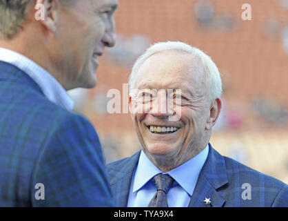 Dallas Cowboy's owner Jerry Jones talks with Peyton Manning before the Los Angeles Rams game against the Dallas Cowboy in their divisional-round playoff game at The Coliseum in Los Angeles, California on January 12, 2019. Photo by Lori Shepler/UPI - Stock Photo