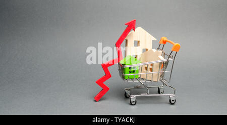 Wooden houses in a shopping cart and red arrow up. The concept of increasing the cost of housing. High demand for real estate. The growth of rent and - Stock Photo