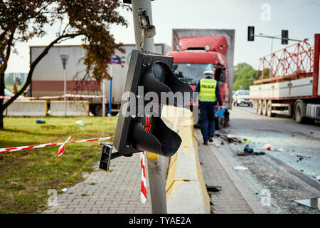 View of truck standing on the side of the street after road accident . - Stock Photo