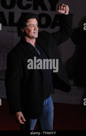 American actor Sylvester Stallone attends the premiere of 'Rocky Balboa' at Vue, Leicester Square in London on January 16, 2007.  (UPI Photo/Rune Hellestad) - Stock Photo
