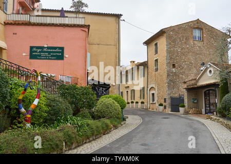 Mougins, France - April 03, 2019: Mougins is a commune in southeastern France that is a great place of tourist attractions with many art galleries, ca
