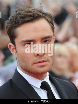 British actor Ed Westwick attends the 'National Movie Awards' at Wembley Arena in London on May 11, 2011.     UPI/Rune Hellestad - Stock Photo