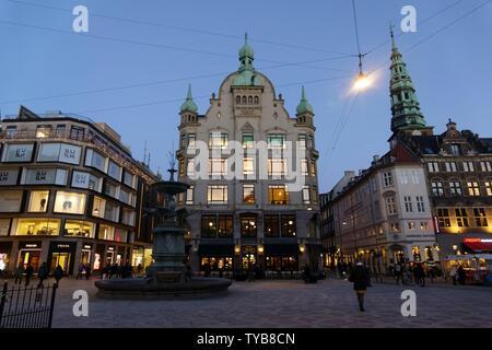 Gammel Torv, the Old Square, Stroget pedestrian street at night, Copenhagen, Denmark, Scandinavia, Europe | usage worldwide - Stock Photo