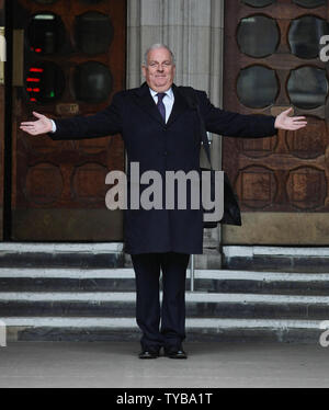 Former Editor of the British tabloid newspaper 'The Sun' Kelvin Mackenzie leaves the Royal Courts of Justice after giving evidence at the Leveson Inquiry in London on Monday, January 09 2012. The Leveson Inquiry continues to look into the standards of the British Press and phone hacking practices which forced the closure of the 'News of the World.     UPI/Hugo Philpott - Stock Photo