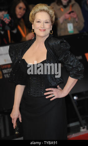 American actress Meryl Streep attends the 'Orange British Academy Film Awards' at the Royal Opera House in London on February 12, 2012.     UPI/Rune Hellestad - Stock Photo