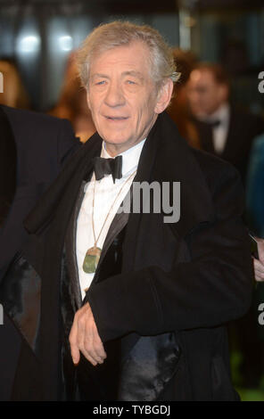 English actor Sir Ian McKellen attends The UK premiere of 'The Hobbit: An Unexpected Journey' at The Odeon Leicester Square and Empire Leicester Square, in London on December 12, 2012.     UPI/Paul Treadway - Stock Photo