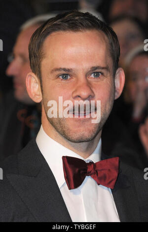 English actor Dominic Monaghan attends The UK premiere of 'The Hobbit: An Unexpected Journey' at The Odeon Leicester Square and Empire Leicester Square, in London on December 12, 2012.     UPI/Paul Treadway - Stock Photo