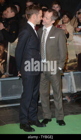 English actor Dominic Monaghan and Scottish actor Billy Boyd attend The UK premiere of 'The Hobbit: An Unexpected Journey' at The Odeon Leicester Square and Empire Leicester Square, in London on December 12, 2012.     UPI/Paul Treadway - Stock Photo