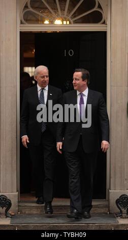 Britain's Prime Minister David Cameron (R) meets with American Vice President Joe Biden at No.10 Downing St, London on February 5, 2013.        UPI/Hugo Philpott Stock Photo