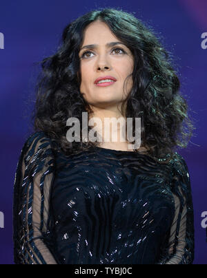 Mexican- American actress Salma Hayek appears at the 'Sound of Change' charity event at Twickenham Stadium in London on June 1, 2013.     UPI/ Rune Hellestad - Stock Photo