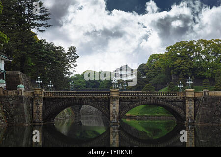 Toyo, Japen - April, 25, 2019: Imperial palace - Imperial Palace with Nijubashi Bridge in Tokyo, Japan. - Stock Photo
