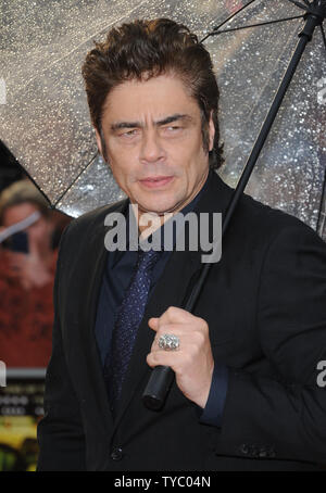 Puerto Rican actor Benicio del Toro attends the UK Premiere of 'Sicario' at Empire Leicester Square in London on September 21, 2015.     Photo by Paul Treadway/UPI - Stock Photo