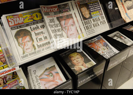 Front pages of UK newspapers following the death of Britisg singer David Bowie in London on January 12, 2016.     UPI/ Rune Hellestad - Stock Photo