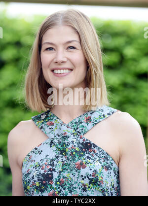British actress Rosamund Pike attends the Chelsea Flower Show at the Royal hospital grounds in London on May 23, 2016. Photo by Rune Hellestad/ UPI - Stock Photo