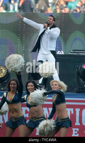 British singer Craig David sings in the prematch entertainment before the Los Angeles Rams vs the New York Giants at Twickenham Stadium, London on October 23, 2016.New York Giants won the game by 17-10.      Photo by Hugo Philpott/UPI. - Stock Photo