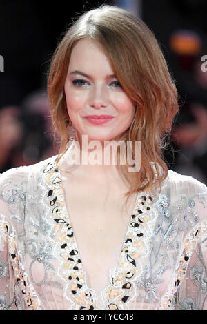 American actress Emma Stone attends the premiere for The Favourite during the 75th Venice Film Festival in Venice on August 30, 2018. Photo by Paul Treadway/ UPI - Stock Photo
