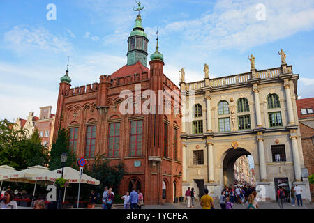 St. George's hall, The Golden Gate Old Town, Danzig, Pommerania, Poland - Stock Photo