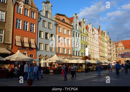 Long Market, Dlugi Targ, old town, Danzig, Pommerania, Poland - Stock Photo