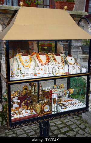 Amber, Jewelry and galleries, Mariacka street, Old Town, Danzig, Pommerania, Poland - Stock Photo