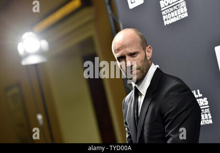 Actor Jason Statham attends the Pioneer of the Year dinner at Caesars Palace during CinemaCon, the official convention of the National Association of Theatre Owners, in Las Vegas, Nevada on April 22, 2015. Photo by David Becker/UPI - Stock Photo