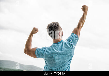 muscular back man isolated on white. lucky successful guy. fortune game. celebrate winning competition. Winner take it all. Sportsman celebrates victory. Man motivated ambitious likes win and success. - Stock Photo