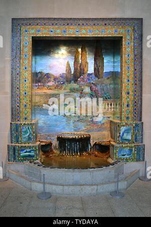 Louis Comfort Tiffany's 'Garden Landscape', Metropolitan Museum of Art, New York City, New York, USA - preliminiary studio for 'Dream Garden' mosaic - Stock Photo