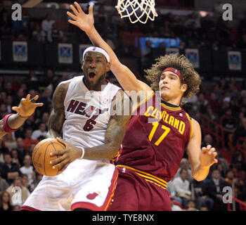 Miami Heat Forward  Lebron James (6) during  half action against The Cleveland Cavaliers at the American Airlines Arena, in Miami Florida, December 15, 2010. .                                                    UPI/Susan Knowles... - Stock Photo